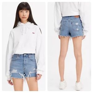 NEW Levi's Premium Ribcage Cut Off Jean Shorts